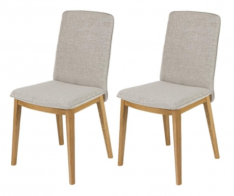 Set 2 stolice Adra Oak Light Grey
