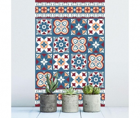 Red Blue Tiles 12 db Matrica