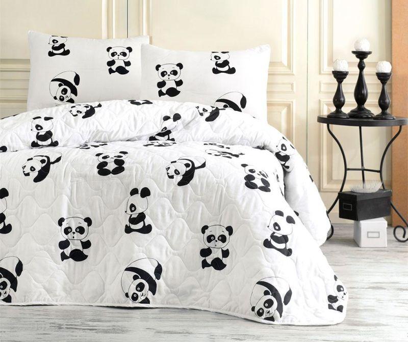 Set prošiveni prekrivač Single Panda