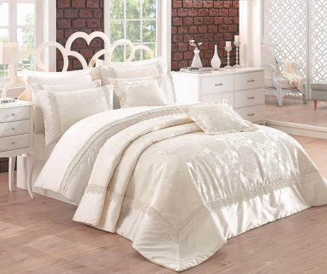Set lenjerie de pat si cuvertura King Ranforce Jacquard Supreme Linetta Cream