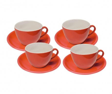 Set 4 cesti si 4 farfurioare Colorado Orange