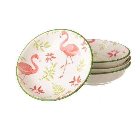 Zestaw 4 talerzyków Flamingo