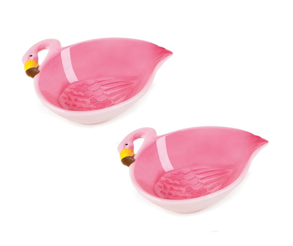Set 2 zdjele Tropical Flamingo 180 ml