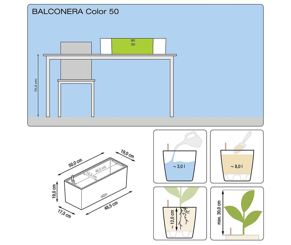 Set jardiniera cu sistem de autoirigare si suport Balconera Soft Pistachio