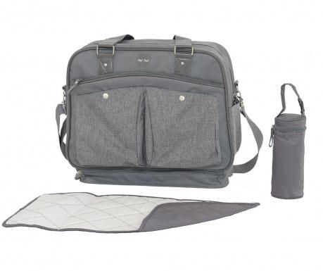 Set geanta, saltea pliabila pentru schimbat scutece si suport pentru sticla Life Grey