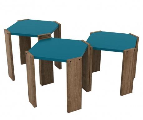 Set 3 mizic Rafevi Hansel Walnut Blue