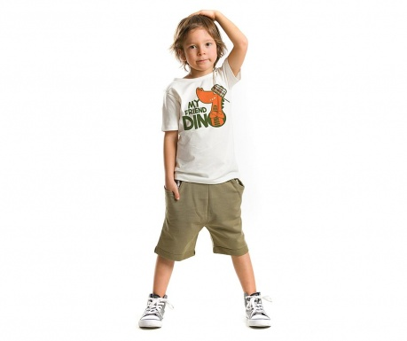 Set tricou si pantaloni scurti pentru copii Dino Friend