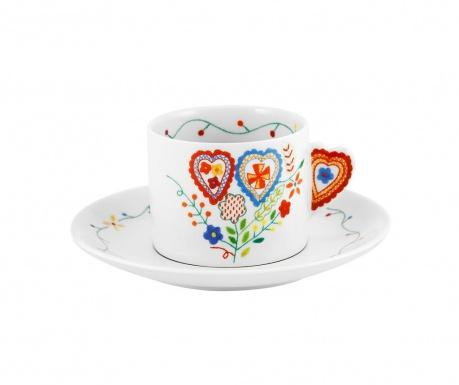 Set ceasca si farfurioara pentru ceai Vila Colorful Hearts