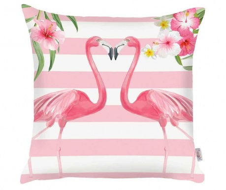 Obliečka na vankúš Flamingo Love Story White and Pink 43x43 cm