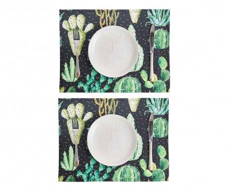 Zestaw 2 podkładek stołowych Night Cactus 33x45 cm