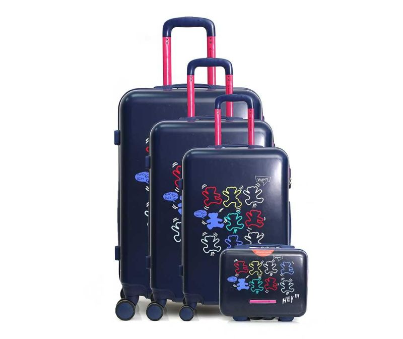 Set 3 trolere si geanta pentru cosmetice Lulu Arty Blue
