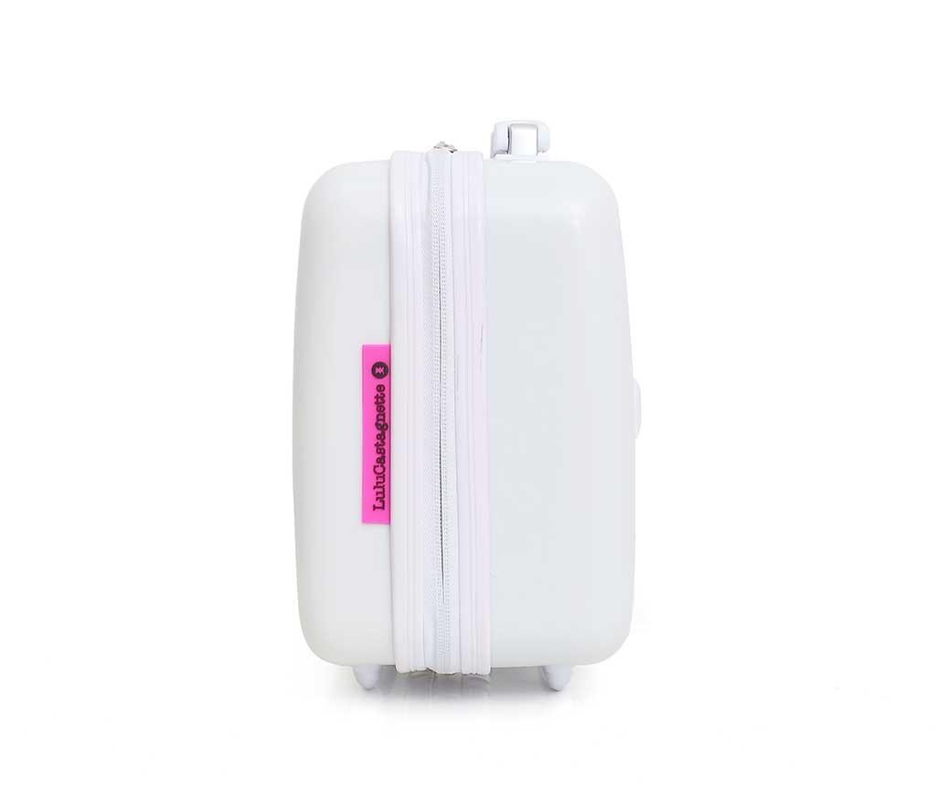 Set 3 kovčkov na kolesih in kozmetične torbe Lulu Arty White
