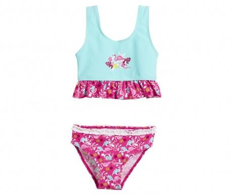 Costum de baie copii 2 piese Flamingo Blue 12-24 luni