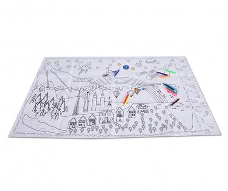 Set plansa de colorat si 12 creioane XXXXL Coloring