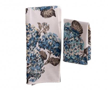 Σετ 2 πετσέτες μπάνιου Ortensia Blue