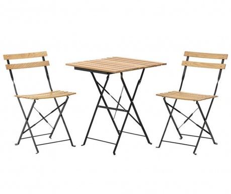 Sada venkovní stůl a 2 skládací židle Desto Beige