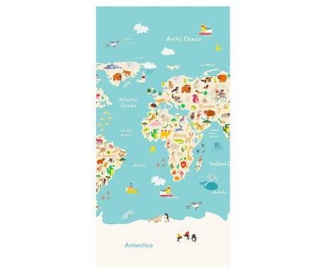 Worldmap Strandtörölköző 75x150 cm