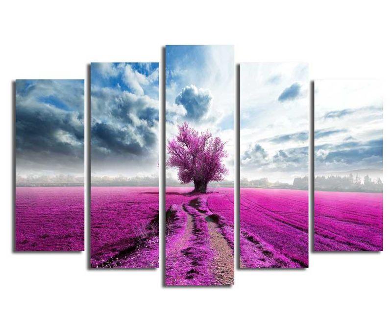 Set 5 tablouri Purple Fields