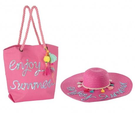 Sada klobúk a plážová taška Hello Weekend Pink