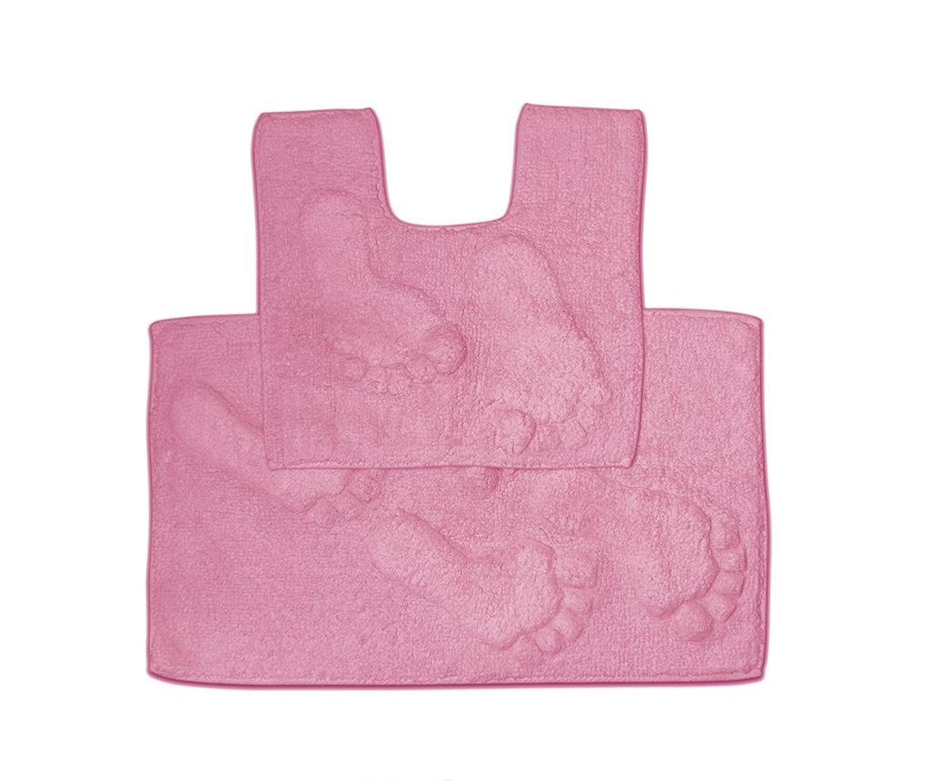 Set - brisača za na tla in kopalniška preproga Loren Pink