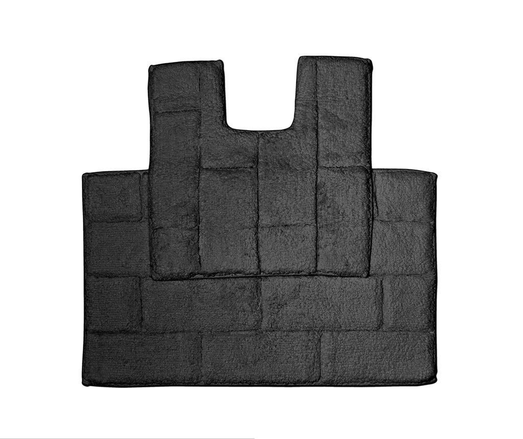 Set - brisača za na tla in kopalniška preproga Quiana Black