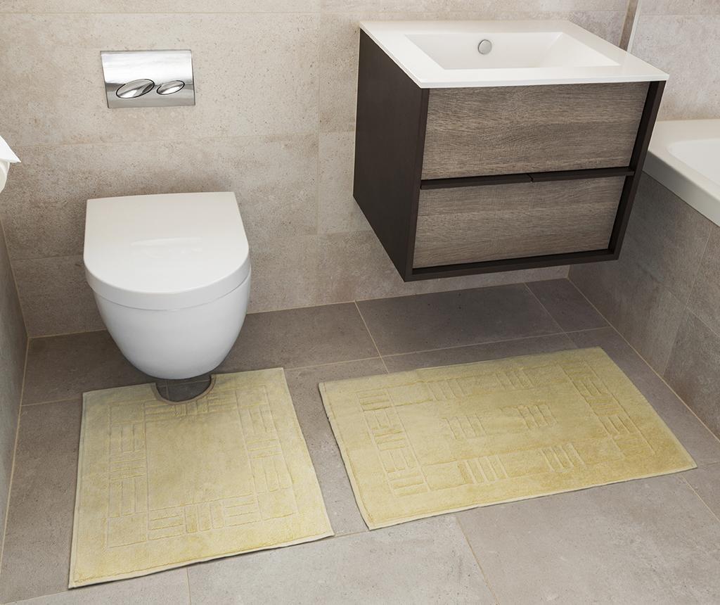 Set - brisača za na tla in kopalniška preproga Reversible Verica Yellow