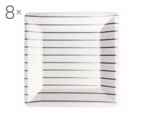 Set 8 farfurii de unica folosinta Striped Silver