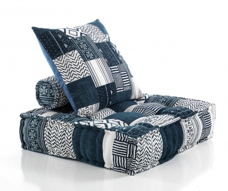 Sada 2 dekoračních polštářů a podlahového polštáře White Blue