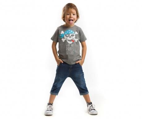 Set tricou si pantaloni trei sferturi pentru copii Cool Pirates 2 ani