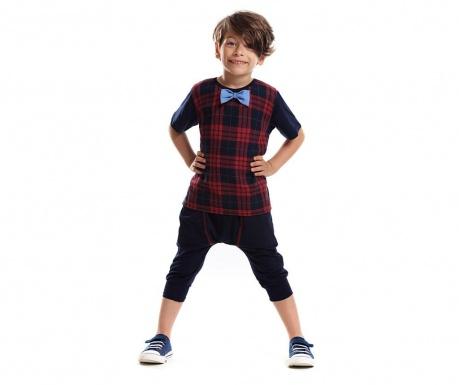 Set tricou si pantaloni trei sferturi pentru copii Mr Bow Tie