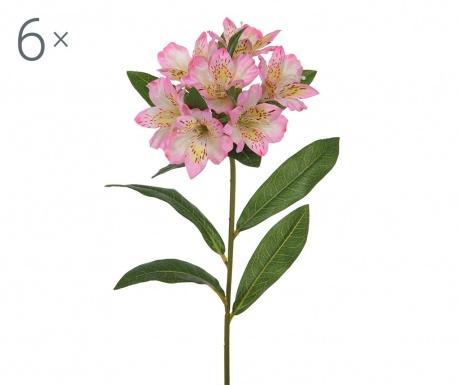 Set 6 umjetnih cvjetova Alstroemeria Pink