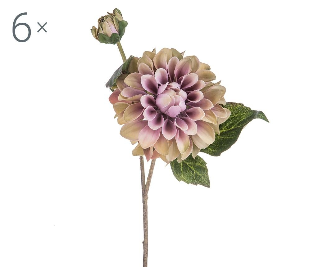 Set 6 flori artificiale Dahlia Romantique Mauve