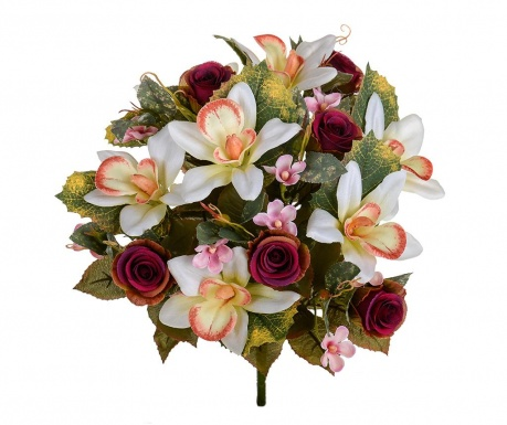 Buchet flori artificiale Orchids and Roses Burgundy