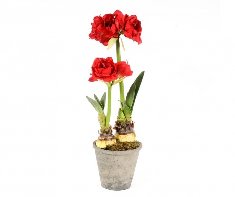 Floare artificiala in ghiveci Amaryllis Doppio Red