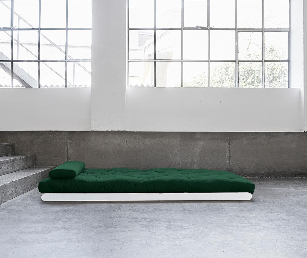 Figo Wide White and Botella Green Kihúzható nappali heverő