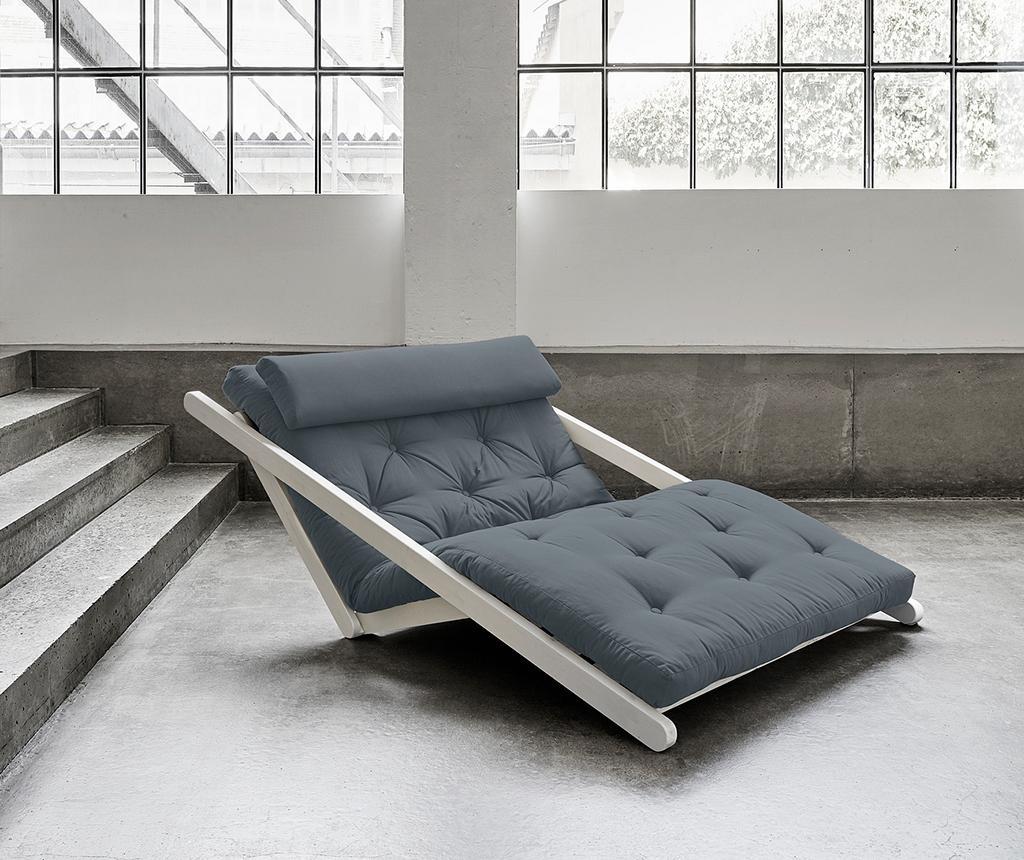 Figo Wide White and Granite Grey Kihúzható nappali heverő