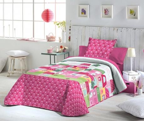 Set s prešitim posteljnim pregrinjalom Single Lisbet Pink
