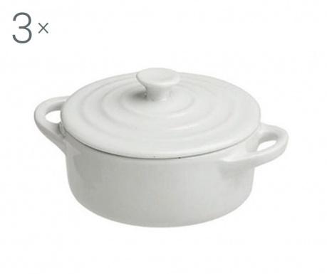 Ramekin Round White 3 db Sütőedény fedővel 90 ml