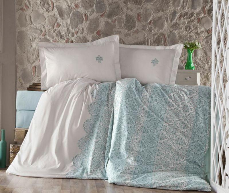 Posteljina King Ranforce Tiara Turquoise 200x220
