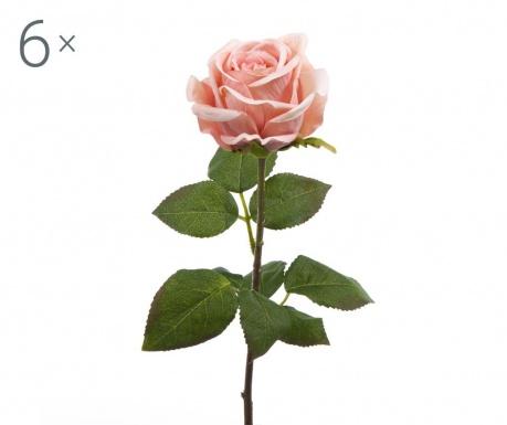 Set 6 umjetnih cvjetova Rosa Roman Peach