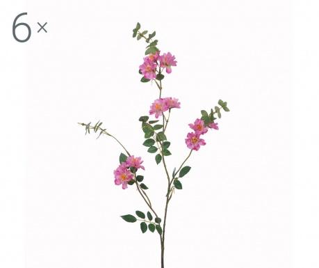 Sada 6 umělých květin Mini Rosa Pink