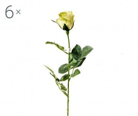 Sada 6 umělých květin Rosa Boccio Green