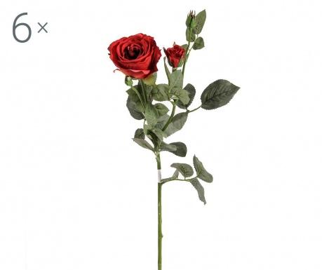 Set 6 umjetnih cvjetova Rosa Kaia Red