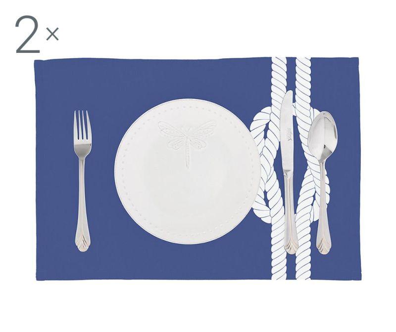 Set 2 podmetača Knot Blue 33x45 cm