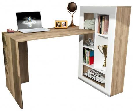 Pisalna miza s knjižnim regalom Canika  White Walnut