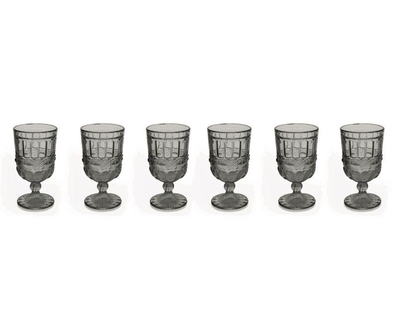 Set 6 čaša s nogom Chic Grey 275 ml