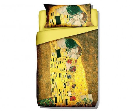 Posteljnina Single Extra Ranforce Klimt The Kiss