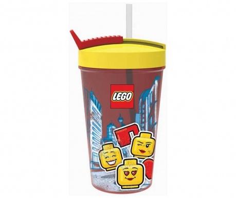 Skodelica s pokrovom in slamico Iconic Girl Lego Red 500 ml
