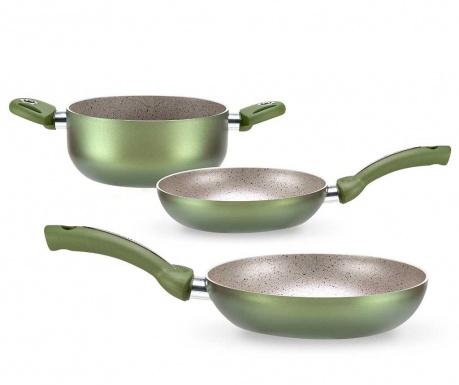 Trzyczęściowy zestaw naczyń do gotowania Uniqum Green