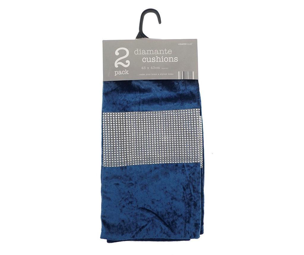 Set 2 fete de perna Diamante Navy Blue 43x43 cm